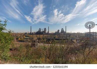 Duisburg -  View from Hill to former Steel Mill  and Wind Wheel at Landschaftspark Duisburg-Meiderich, North Rhine Westphalia, Germany, Duisburg, 18.11.2018