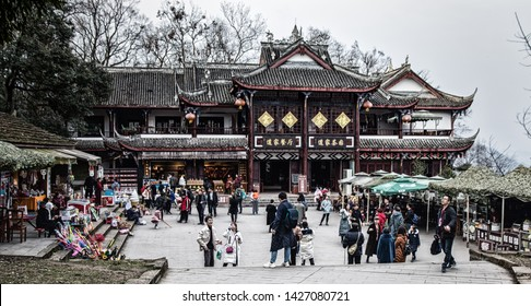 Dujiangyan, Sichuan, China - February 06, 2019: Tourist visiting Mount Qingcheng  and walking around the buddhist temple, Mount Qingcheng  is a famous Taoism (Daoism) mountain in Dujiangyan, China.