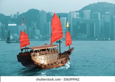 Duk Ling Ride, Hong Kong harbour with tourist junk