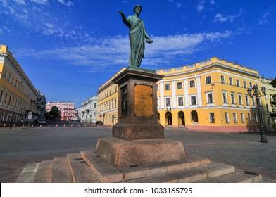 Duke Richelieu statue, Odessa's first Mayor, in Odessa, Ukraine.