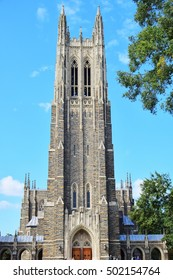 Duke University Cathedral in low angle
