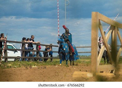 DUKORA, REPUBLIC OF BELARUS - July 8, 2017: Dukorska Brama Festival 2017. Historical reconstruction in medieval style, Vikings and knightly equestrian tournament.