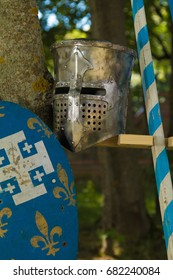 DUKORA, REPUBLIC OF BELARUS - July 8, 2017: Dukorska Brama Festival 2017. Historical reconstruction in medieval style, Vikings and knight equestrian tournament.