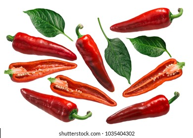 Dulce Italiano sweet chile peppers (Capsicum annuum). Clipping paths for each