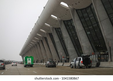 Dulles, VA - February 18, 2018: Dulles International Airport (IAD) on a rainy afternoon.