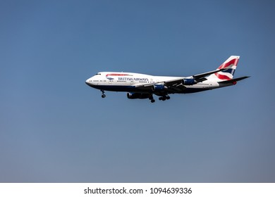 Dulles, VA / United States of America, April 30th 2018: British Airways 747 landing on Dulles International Airport