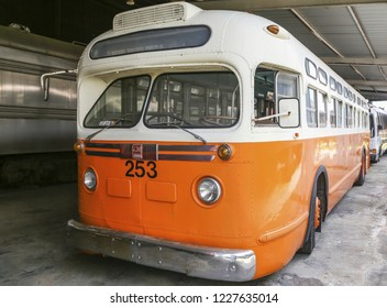 DULUTH, GEORGIA - May 7, 2015: The Southeastern Railway Museum occupies a 35-acres in Duluth, Georgia, near Atlanta. Since 1970, the Museum hosts about 90 old buses and steam locomotives.