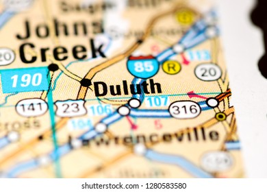 Duluth. Georgia. USA on a map
