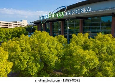 DULUTH, GEORGIA-SEPTEMBER 19: An aerial angle just above the trees of the Infinite Energy Arena on September 19, 2019 in Duluth, Georgia.