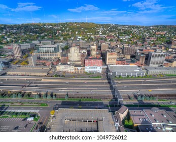 Duluth and Lake Superior in Summer seen from Above by Drone