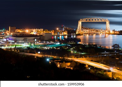 Duluth Minnesota Aerial Lift Bridge and Canal Park at Night on the Shore of Lake Superior