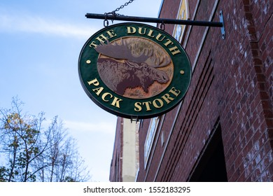 Duluth, Minnesota - October 20, 2019: Sign for the famous Duluth Park clothing, gear and accessories store, founded in this Minnesota city