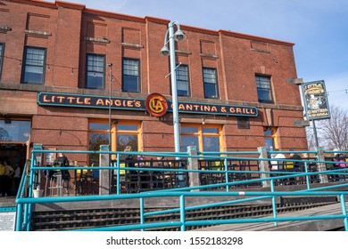 Duluth, Minnesota - October 20, 2019: Exterior of Little Angies Cantina and Grill, part of Grandmas Restaurants, has a patio in Canal Park