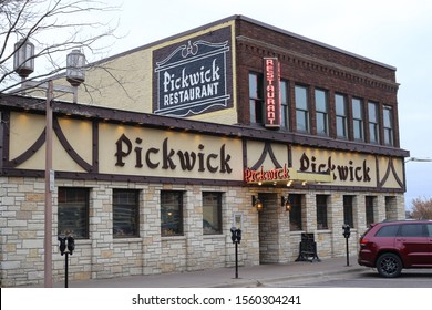 Duluth, Minnesota/ USA - November 1, 2019:  The Historic Pickwick Restaurant and Pub on Superior Street in Duluth, Minnesota along the shores of Lake Superior