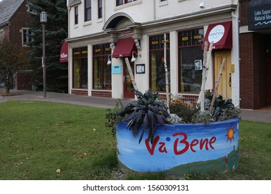 Duluth, Minnesota/ USA - November 1, 2019:  A picture of the Va Bene Caffe, an Italian restaurant in Duluth, Minnesota overlooking Lake Superior
