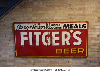 Duluth, Minnesota / USA - November 1, 2019: An Old Sign hanging in the Fitger's building in Duluth from Gary's Resort advertising Fitger's Beer