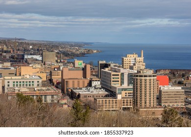 DULUTH, MN - OCTOBER 2020 - A High Angle Skyline Shot of Duluth and the North Shore of Lake Superior on a Beautiful Late Fall Day