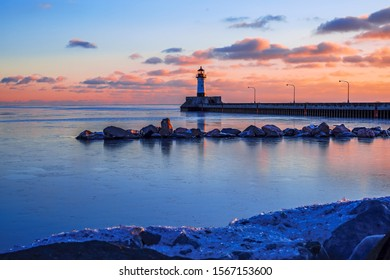 Duluth North Pier Lighthouse in winter time