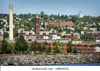 Duluth is a Seaport City in the U.S. State of Minnesota and is the County Seat of Saint Louis County. Duluth Cityscape Photo in Summer.