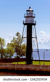Duluth Waterfront Canal Park & Aerial Lift Bridge Duluth Rear Range Lighthouse in Minnesota.