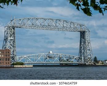 Duluth's iconic lift bridge at the harbor entrance