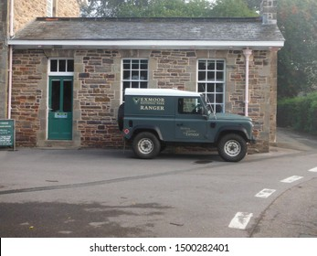 Dulverton, Exmoor, Somerset - August 2019 Exmoor national park landrover parked outside national park offices