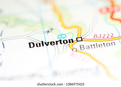 Dulverton. United Kingdom on a geography map