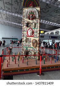 Dum Dum, Kolkata, West Bengal, India, Friday, June 14, 2019:  Close up of a new artifact installed in Dum Dum Netaji Subhas Chandra Bose International Airport depicting Bengali culture.