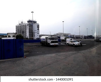 Dum Dum, Kolkata, West Bengal, India, Friday, June 14, 2019:  The tarmac of Netaji Subhas Chandra Bose International Airport, DumDum with vehicals and  ATC complex in a evening.