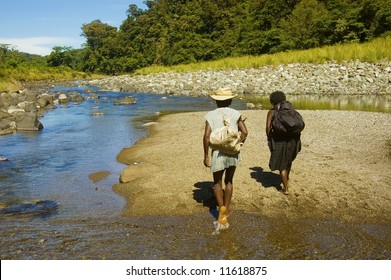 Dumagats, the indigenous people living in the Sierra Mountain Ranges in the Philippines, on the way to the nearest town, which is an 11-hour walk from their home in the mountains