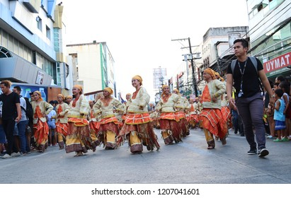 DUMAGUETE CITY, Negros Oriental, Philippines - OCT. 19, 2018: Participants of the Buglasan Festival Street Dancing Competition.