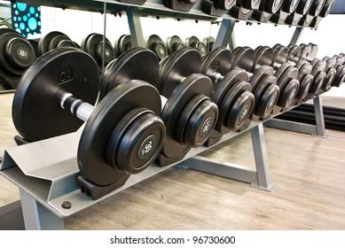 dumbbell in fitness room