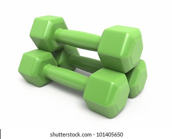 Dumbbell green plastic render (isolated on white and clipping path)