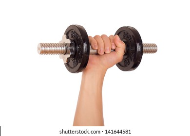 Dumbbell held firmly in the hand. Isolated on white background.