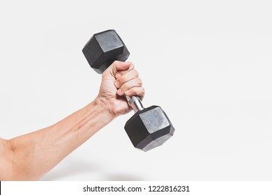 dumbbell in man's hand isolated on white background.