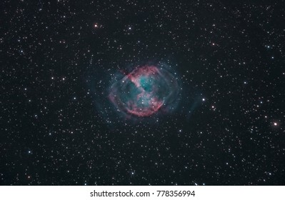 The Dumbbell Nebula, a famous planetary nebula located in the constellation Vulpecula