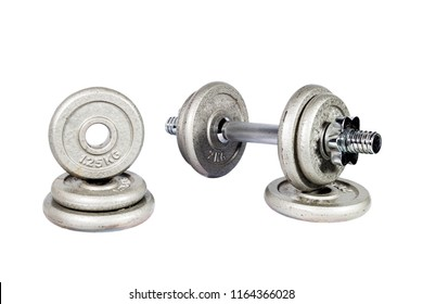 Dumbbell on the white background. Clipping path inside.
