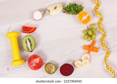 Dumbbell, tape measure and fresh nutritious food as source natural vitamins, concept of healthy nutrition and slimming