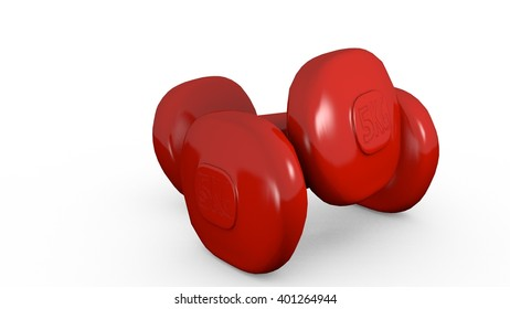Dumbbell Weights in a simple low poly 3D illustration on bright background
