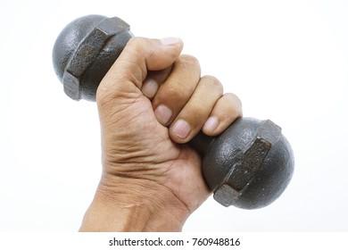 dumbbells color black in hand on white background