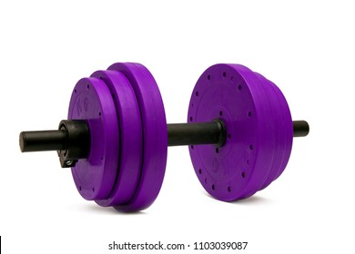 Dumbbells for fitness color magentas on isolated background.Close-up.