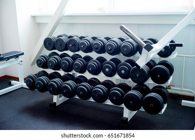 Dumbbells on rack at the gym
