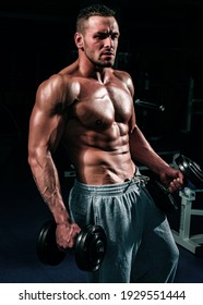 Dumbbells. Sportsman in gym. Sporty exercises. Male torso with six packs. Man naked body