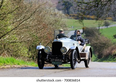 DUMFRIES AND GALLOWAY, SCOTLAND - MARCH 31, 2017: A 1921 British Vauxhall 30/98 competes on the 2017 Flying Scotsman Rally for Pre War cars organised by ERA (Endurance Rally Association).