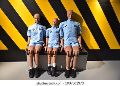 Dummy dolls used for car front crash test. Taken at 'Hyundai Motor Studio' on January 31, 2021, Goyang-si, Gyeonggi-do, Korea.