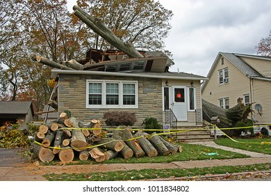 DUMONT, NEW JERSEY/USA - OCTOBER 31, 2012: A house which has been condemned after a large tree fell on top of it during Hurricane Sandy, which is unofficially referred to as Superstorm Sandy.