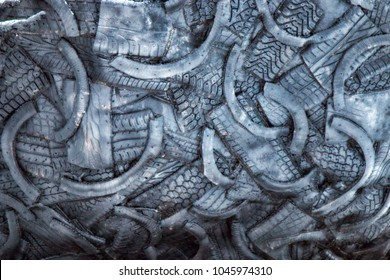 dump background of old tires. cut automotive rubber chemical industry