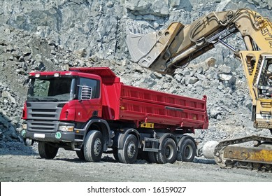 Dump Truck and Excavator in a Quarry