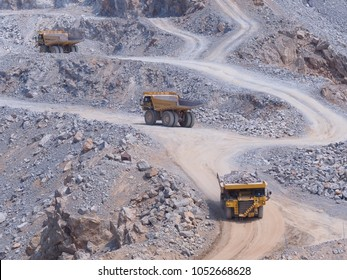 Dump truck in limestone mining, quarry.