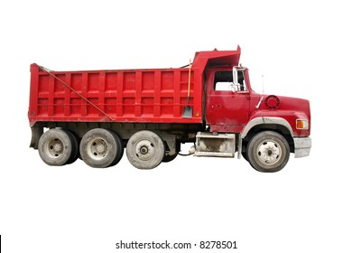 Dump truck - red, isolated [names removed].
